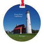Tawas Point Lighthouse Aluminum Round Ornament