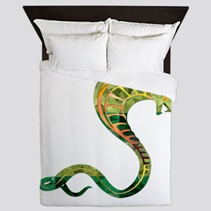 Mosaic Polygon Cobra Snake Green and G Queen Duvet