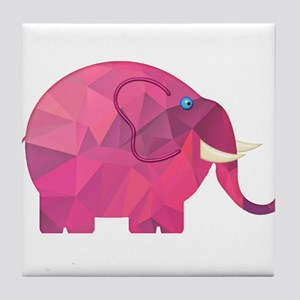 Polygon Mosaic Pink Elephant Tile Coaster
