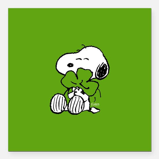 """Peanuts Woodstock Lucky Square Car Magnet 3"""" x 3"""""""