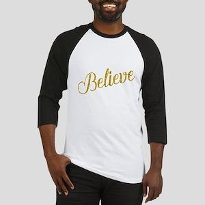 Believe Gold Faux Foil Metallic Gl Baseball Jersey