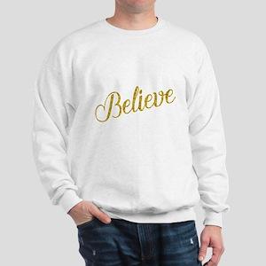 Believe Gold Faux Foil Metallic Glitter Sweatshirt
