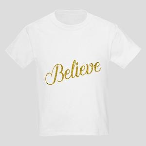Believe Gold Faux Foil Metallic Glitter Qu T-Shirt