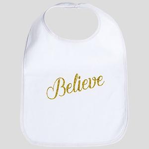 Believe Gold Faux Foil Metallic Glitter Quote Bib