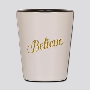 Believe Gold Faux Foil Metallic Glitter Shot Glass
