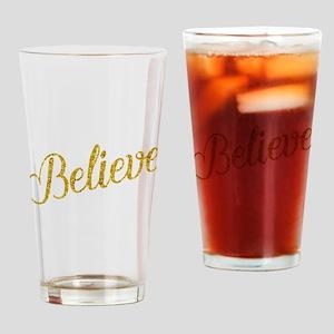 Believe Gold Faux Foil Metallic Gli Drinking Glass