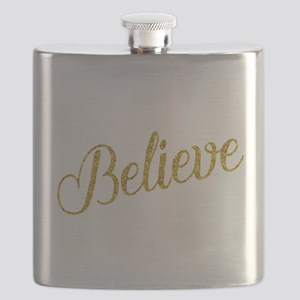 Believe Gold Faux Foil Metallic Glitter Quot Flask