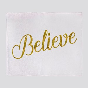 Believe Gold Faux Foil Metallic Glit Throw Blanket