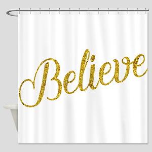 Believe Gold Faux Foil Metallic Gli Shower Curtain