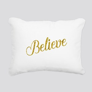 Believe Gold Faux Foil M Rectangular Canvas Pillow