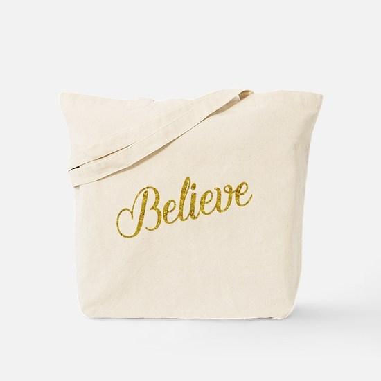 Believe Gold Faux Foil Metallic Glitter Q Tote Bag
