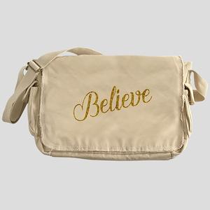 Believe Gold Faux Foil Metallic Glit Messenger Bag