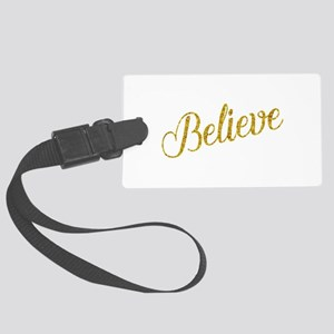 Believe Gold Faux Foil Metallic Large Luggage Tag