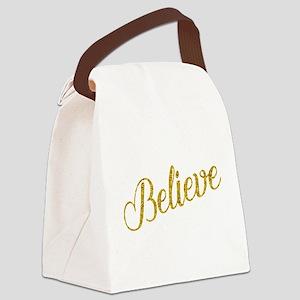 Believe Gold Faux Foil Metallic G Canvas Lunch Bag