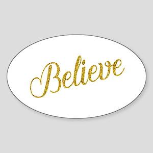 Believe Gold Faux Foil Metallic Glitter Qu Sticker