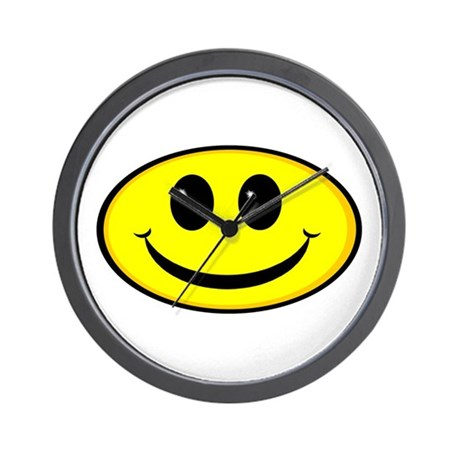 Smiley Face Oval Wall Clock