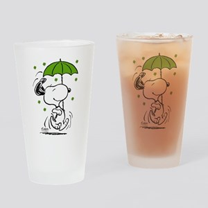 Snoopy Raining Clovers Drinking Glass