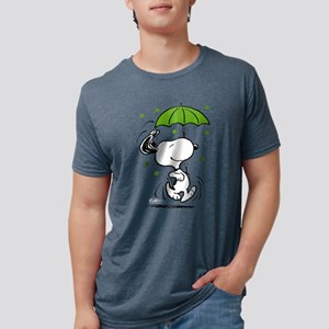 Snoopy Raining Clovers Mens Tri-blend T-Shirt