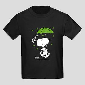 Snoopy Raining Clovers Kids Dark T-Shirt