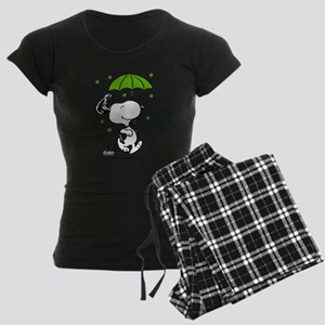 Snoopy Raining Clovers Women's Dark Pajamas