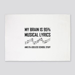 Brain Musical Lyrics Funny 5'x7'Area Rug