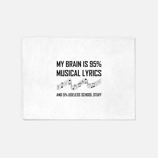 Brain Musical Lyrics Funny 5'x7'Area Rug