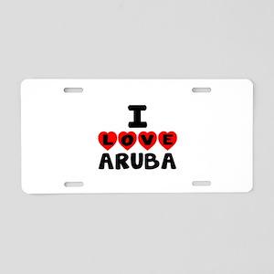 I Love Aruba Aluminum License Plate