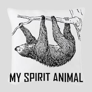 Sloth My Spirit Animal Funny Woven Throw Pillow