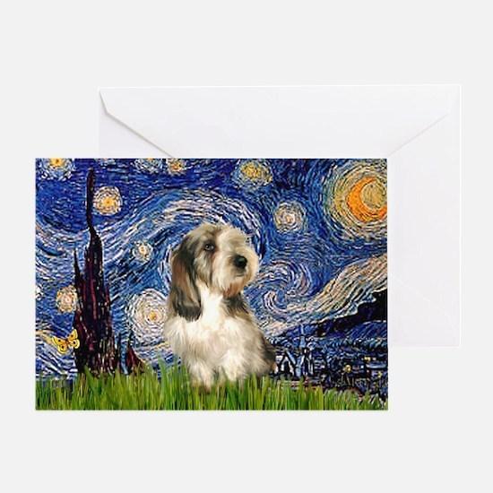 Starry Night / PBGV Greeting Card