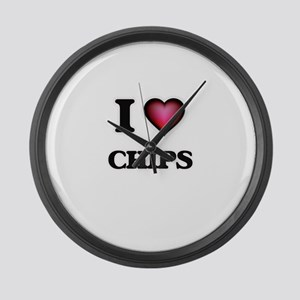 I love Chips Large Wall Clock