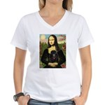 Mona / Poodle (bl) Women's V-Neck T-Shirt