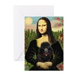 Mona / Poodle (bl) Greeting Cards (Pk of 20)
