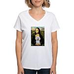 Mona Lisa / Poodle(w) Women's V-Neck T-Shirt