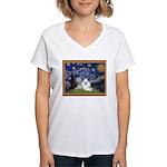 Starry Night / Poodle(w) Women's V-Neck T-Shirt