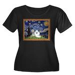 Starry Night / Poodle(w) Women's Plus Size Scoop N