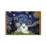 Starry Night / Poodle(w) Rectangle Magnet (10 pack