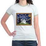 Starry Night / Poodle(w) Jr. Ringer T-Shirt