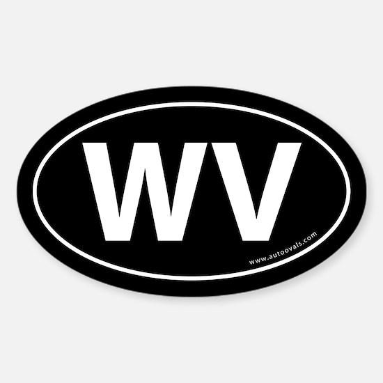West Virginia WV Auto Sticker -Black (Oval)