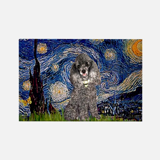 Starry Night / Poodle (s) Rectangle Magnet