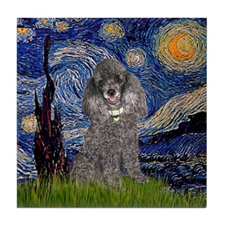 Starry Night / Poodle (s) Tile Coaster
