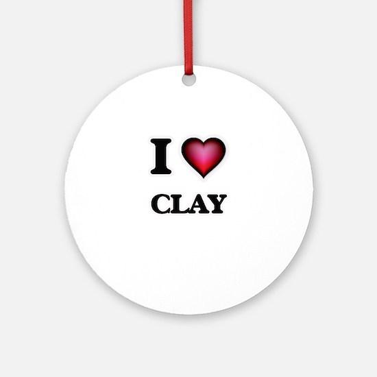 I love Clay Round Ornament