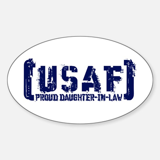 Proud USAF DhtrNlaw - Tatterd Style Oval Decal