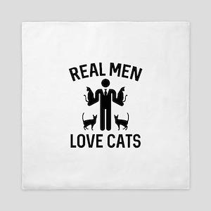 Real Men Love Cats Queen Duvet