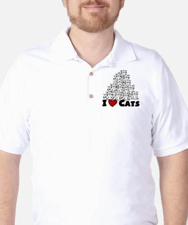 I Love CATS CUTE Golf Shirt