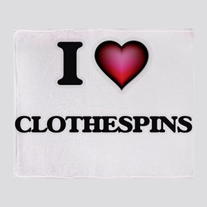 I love Clothespins Throw Blanket