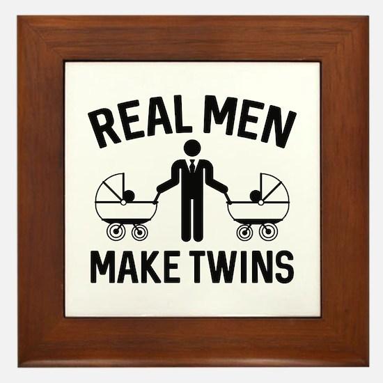 Real Men Make Twins Framed Tile