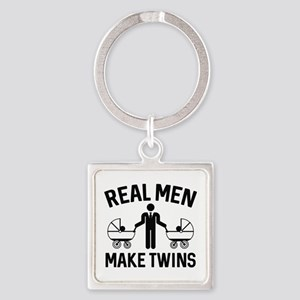 Real Men Make Twins Square Keychain