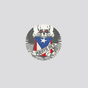 Puerto Rico Wings and Skull Mini Button