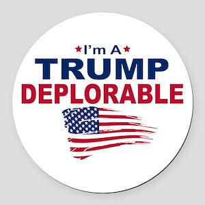 I'm A Trump Deplorable Round Car Magnet