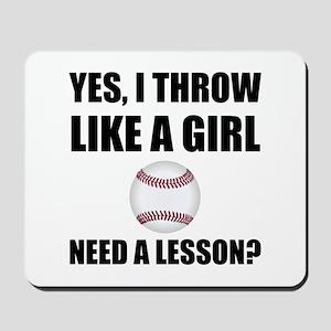 Like A Girl Baseball Mousepad